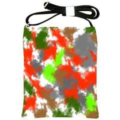 Abstract Watercolor Background Wallpaper Of Splashes  Red Hues Shoulder Sling Bags