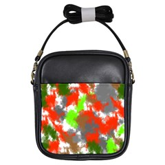 Abstract Watercolor Background Wallpaper Of Splashes  Red Hues Girls Sling Bags