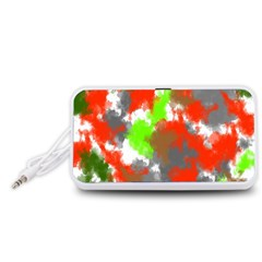 Abstract Watercolor Background Wallpaper Of Splashes  Red Hues Portable Speaker (White)