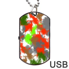 Abstract Watercolor Background Wallpaper Of Splashes  Red Hues Dog Tag Usb Flash (two Sides)