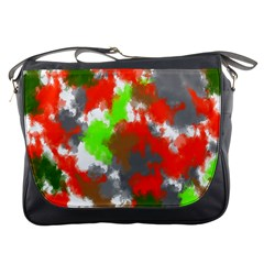 Abstract Watercolor Background Wallpaper Of Splashes  Red Hues Messenger Bags