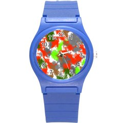 Abstract Watercolor Background Wallpaper Of Splashes  Red Hues Round Plastic Sport Watch (s)