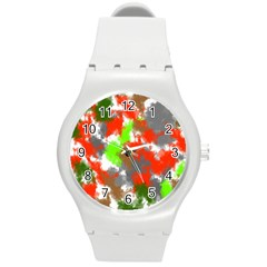 Abstract Watercolor Background Wallpaper Of Splashes  Red Hues Round Plastic Sport Watch (m)