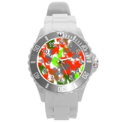 Abstract Watercolor Background Wallpaper Of Splashes  Red Hues Round Plastic Sport Watch (l)