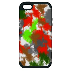 Abstract Watercolor Background Wallpaper Of Splashes  Red Hues Apple Iphone 5 Hardshell Case (pc+silicone)