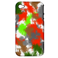 Abstract Watercolor Background Wallpaper Of Splashes  Red Hues Apple Iphone 4/4s Hardshell Case (pc+silicone)