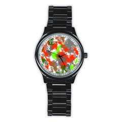 Abstract Watercolor Background Wallpaper Of Splashes  Red Hues Stainless Steel Round Watch