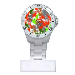 Abstract Watercolor Background Wallpaper Of Splashes  Red Hues Plastic Nurses Watch