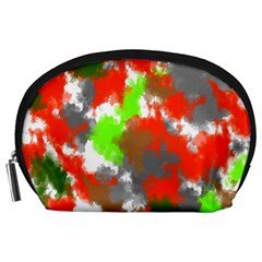 Abstract Watercolor Background Wallpaper Of Splashes  Red Hues Accessory Pouches (large)