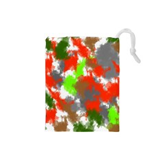 Abstract Watercolor Background Wallpaper Of Splashes  Red Hues Drawstring Pouches (small)