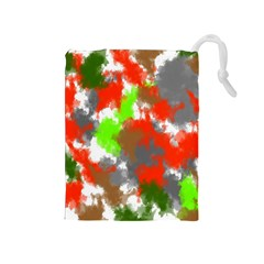 Abstract Watercolor Background Wallpaper Of Splashes  Red Hues Drawstring Pouches (Medium)