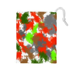 Abstract Watercolor Background Wallpaper Of Splashes  Red Hues Drawstring Pouches (Large)