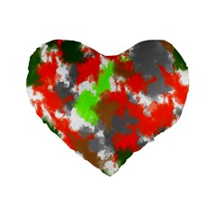 Abstract Watercolor Background Wallpaper Of Splashes  Red Hues Standard 16  Premium Flano Heart Shape Cushions