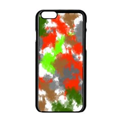Abstract Watercolor Background Wallpaper Of Splashes  Red Hues Apple Iphone 6/6s Black Enamel Case