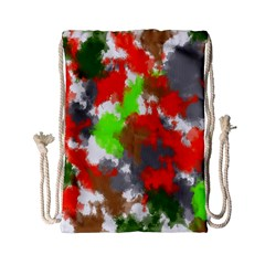 Abstract Watercolor Background Wallpaper Of Splashes  Red Hues Drawstring Bag (small)