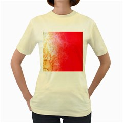 Abstract Red And Gold Ink Blot Gradient Women s Yellow T-Shirt