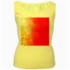 Abstract Red And Gold Ink Blot Gradient Women s Yellow Tank Top