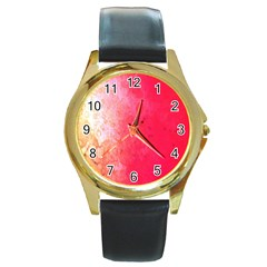 Abstract Red And Gold Ink Blot Gradient Round Gold Metal Watch