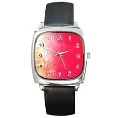 Abstract Red And Gold Ink Blot Gradient Square Metal Watch