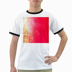 Abstract Red And Gold Ink Blot Gradient Ringer T-Shirts