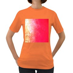 Abstract Red And Gold Ink Blot Gradient Women s Dark T Shirt