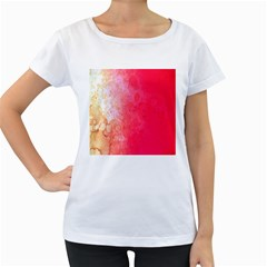 Abstract Red And Gold Ink Blot Gradient Women s Loose-Fit T-Shirt (White)