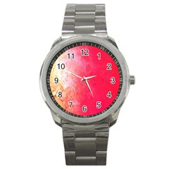 Abstract Red And Gold Ink Blot Gradient Sport Metal Watch