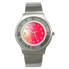 Abstract Red And Gold Ink Blot Gradient Stainless Steel Watch