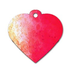 Abstract Red And Gold Ink Blot Gradient Dog Tag Heart (One Side)