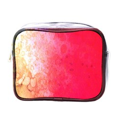 Abstract Red And Gold Ink Blot Gradient Mini Toiletries Bags