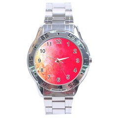 Abstract Red And Gold Ink Blot Gradient Stainless Steel Analogue Watch