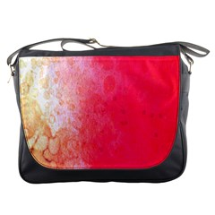 Abstract Red And Gold Ink Blot Gradient Messenger Bags