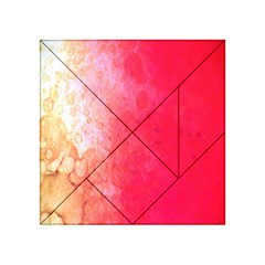 Abstract Red And Gold Ink Blot Gradient Acrylic Tangram Puzzle (4  x 4 )