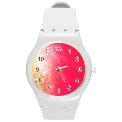 Abstract Red And Gold Ink Blot Gradient Round Plastic Sport Watch (m)