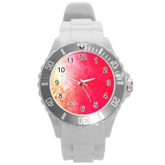 Abstract Red And Gold Ink Blot Gradient Round Plastic Sport Watch (L)