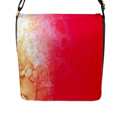 Abstract Red And Gold Ink Blot Gradient Flap Messenger Bag (L)