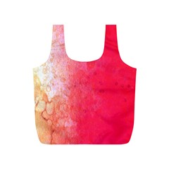 Abstract Red And Gold Ink Blot Gradient Full Print Recycle Bags (S)