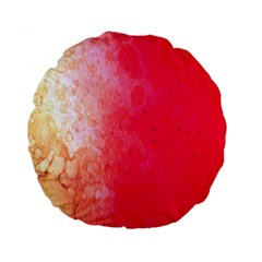 Abstract Red And Gold Ink Blot Gradient Standard 15  Premium Flano Round Cushions