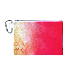 Abstract Red And Gold Ink Blot Gradient Canvas Cosmetic Bag (m)