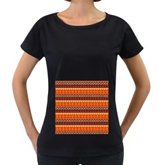 Abstract Lines Seamless Pattern Women s Loose Fit T Shirt (black)