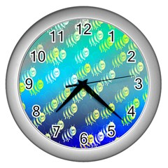 Swarm Of Bees Background Wallpaper Pattern Wall Clocks (silver)