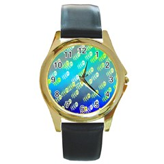 Swarm Of Bees Background Wallpaper Pattern Round Gold Metal Watch