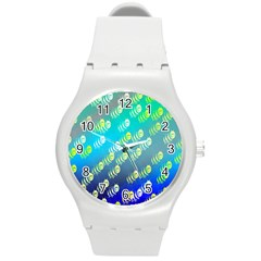 Swarm Of Bees Background Wallpaper Pattern Round Plastic Sport Watch (M)