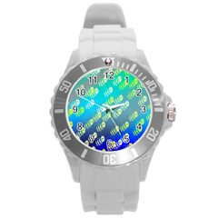 Swarm Of Bees Background Wallpaper Pattern Round Plastic Sport Watch (l)