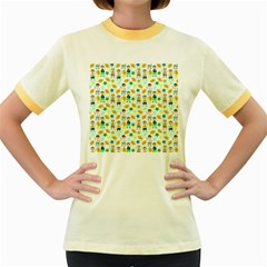Football Kids Children Pattern Women s Fitted Ringer T-Shirts