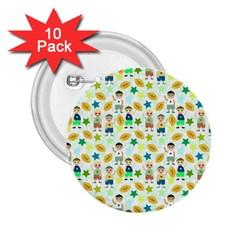 Football Kids Children Pattern 2 25  Buttons (10 Pack)