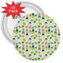 Football Kids Children Pattern 3  Buttons (10 pack)