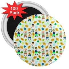 Football Kids Children Pattern 3  Magnets (100 pack)