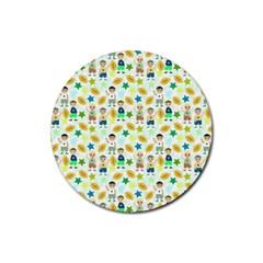 Football Kids Children Pattern Rubber Coaster (round)