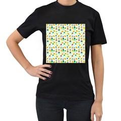 Football Kids Children Pattern Women s T-Shirt (Black) (Two Sided)